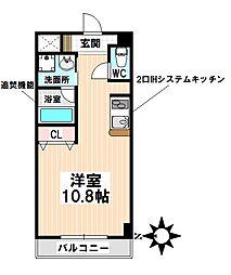 名鉄名古屋本線 神宮前駅 徒歩4分の賃貸マンション 3階ワンルームの間取り