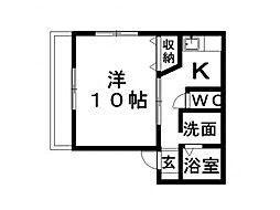 静岡県浜松市中区布橋3丁目の賃貸アパートの間取り