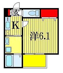 京成本線 船橋競馬場駅 徒歩7分の賃貸アパート 3階1Kの間取り