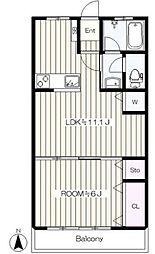 JR南武線 谷保駅 徒歩5分の賃貸マンション 3階1LDKの間取り