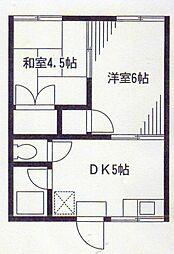 神奈川県横浜市磯子区上中里町の賃貸アパートの間取り
