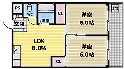 大阪府大阪市生野区巽北4丁目の賃貸マンションの間取り