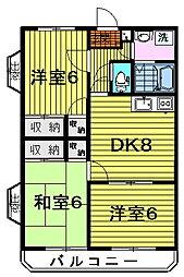 ドミール北島 1階3DKの間取り