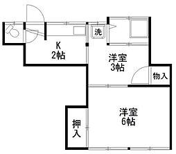 神奈川県横浜市旭区二俣川2の賃貸アパートの間取り