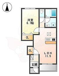 桜・フィオーレ 1階1LDKの間取り