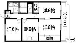 兵庫県西宮市上ケ原三番町の賃貸マンションの間取り