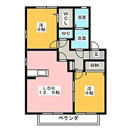 メルベーユ・ボヌール D棟[2階]の間取り