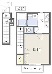東武東上線 成増駅 徒歩12分の賃貸アパート 2階1Kの間取り