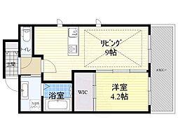 Osaka Metro御堂筋線 江坂駅 徒歩3分の賃貸マンション 4階1LDKの間取り