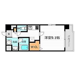 京阪本線 関目駅 徒歩4分の賃貸マンション 5階1Kの間取り