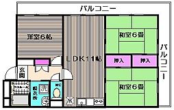 百合ヶ丘シャトー[301号室]の間取り