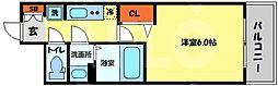 プレサンス南堀江 6階1Kの間取り
