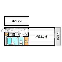 Osaka Metro中央線 緑橋駅 徒歩7分の賃貸マンション 2階1Kの間取り