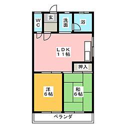 コーポ溝口[2階]の間取り