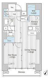 東京メトロ半蔵門線 水天宮前駅 徒歩8分の賃貸マンション 9階1LDKの間取り