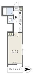 メルディア梅島 2階1Kの間取り