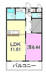 Chaleur(しゃろ~る) 2階1LDKの間取り