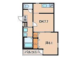 JR阪和線 和歌山駅 徒歩8分の賃貸アパート 3階1DKの間取り