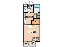 京都府京都市伏見区醍醐新開の賃貸アパートの間取り