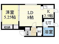 北海道札幌市北区屯田6条1丁目の賃貸アパートの間取り