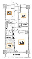 ブリリアントヨス[6階]の間取り