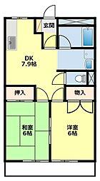 愛知県豊田市京町4丁目の賃貸アパートの間取り