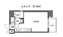 DL 心斎橋 7階ワンルームの間取り