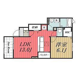 JR成田線 成田駅 バス17分 末広下車 徒歩4分の賃貸アパート 1階1LDKの間取り