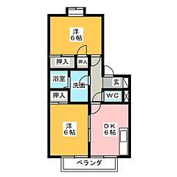 グリーンハウスB棟[2階]の間取り