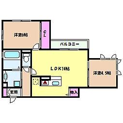 兵庫県神戸市灘区曾和町2丁目の賃貸アパートの間取り