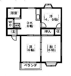 コートヒルズB[102号室号室]の間取り