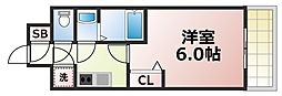 レジュールアッシュOOSAKA新深江 5階1Kの間取り