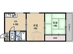 ルーベデンス 4階2DKの間取り
