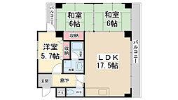 兵庫県宝塚市平井5丁目の賃貸マンションの間取り