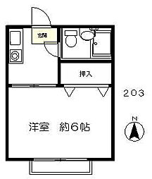 東京都府中市天神町4丁目の賃貸アパートの間取り