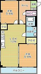 福岡県北九州市小倉北区木町2丁目の賃貸アパートの間取り