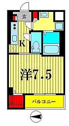 東武亀戸線 小村井駅 徒歩6分の賃貸マンション 5階1Kの間取り