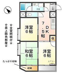愛知県清須市新清洲2丁目の賃貸マンションの間取り