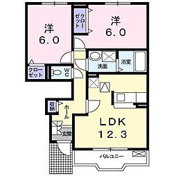 ラ・プラージュII[1階]の間取り
