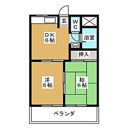 上ノ山ハイツII[2階]の間取り