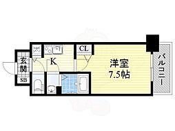 ディームス江坂 5階1Kの間取り