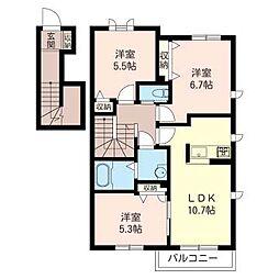 グランメゾン湘南 B[2階]の間取り