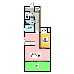 愛知県名古屋市守山区川上町の賃貸アパートの間取り