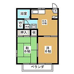宮城県仙台市若林区連坊2丁目の賃貸アパートの間取り