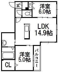 コローレ伏見 3階2LDKの間取り