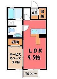 栃木県宇都宮市西原町の賃貸アパートの間取り