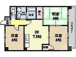 鶴見緑地ハイツ弐番館 5階3DKの間取り