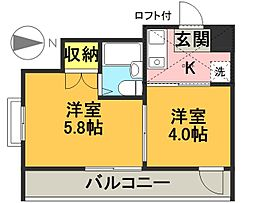 東京都世田谷区宮坂1丁目の賃貸マンションの間取り