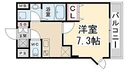 GROOVE川西多田 7階1Kの間取り
