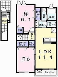 フレグランス香寺Ⅰ[2階]の間取り